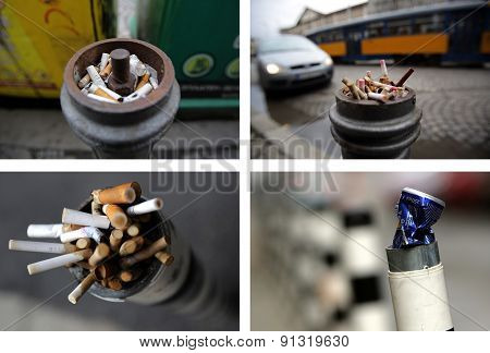 Photo Collage Of Parking Posts With Trash