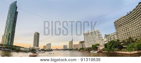 Panorama Area ,river With Building Style Modern  In Evening
