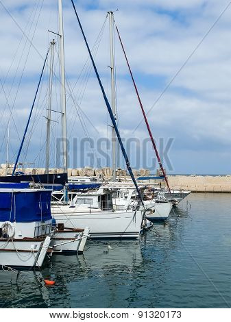 Yachts In Port Of Old Jaffo