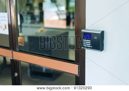 Security Door Card Scan In Soft Light