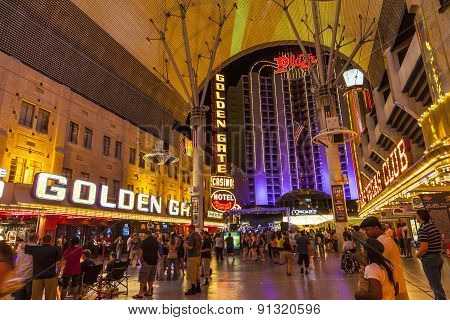 Fremont Street In Las Vegas, Nevada By Night