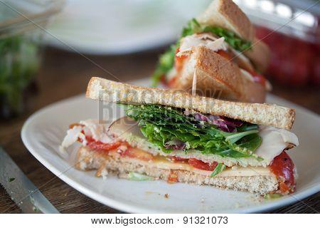 Turkey Sandwich Cut in Half