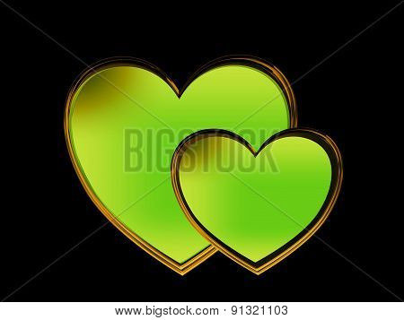 green heart with the plastic shape