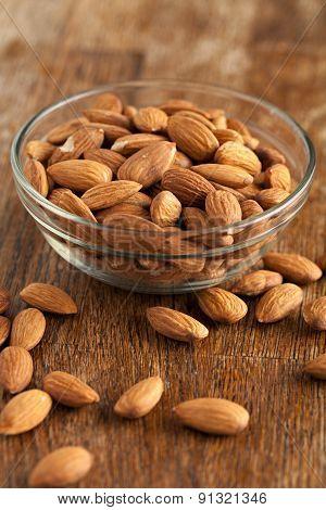 Bowl of Organic Raw Almonds
