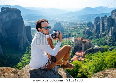 Professional photographer on the mountains