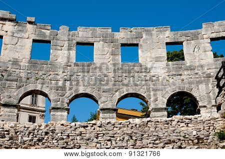Antique Roman Forum In Pula