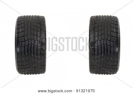 Race used tires isolated on white background