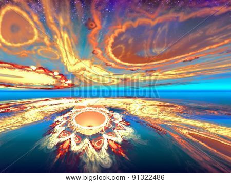 Mysterious alien sunset view in the mysterious world inhabited. Fractal art graphics