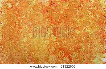 Golden Ebru Patterned Fan