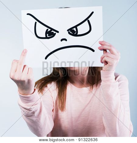 Angry  Woman Showing Middle Finger