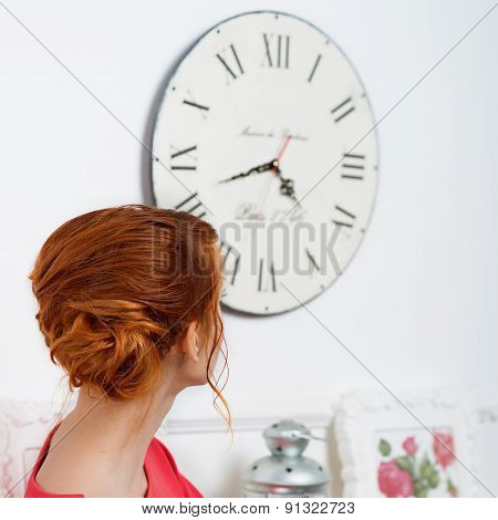 Girl In A Red Dress Watch On Clock
