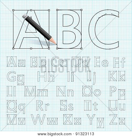 Set Of Vector Letters With Bezier Curves On The Drawing Paper