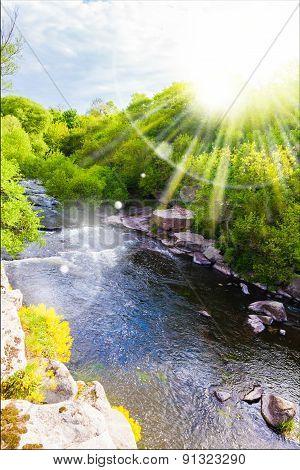 Picturesque Landscape Mountain River