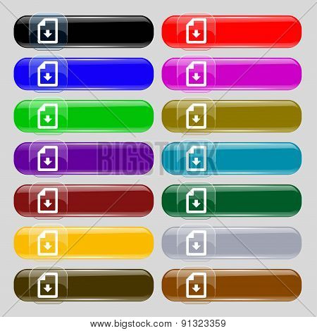 Import, Download File  Icon Sign. Set From Fourteen Multi-colored Glass Buttons With Place For Text.