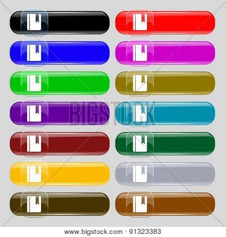 Book Bookmark  Icon Sign. Set From Fourteen Multi-colored Glass Buttons With Place For Text. Vector