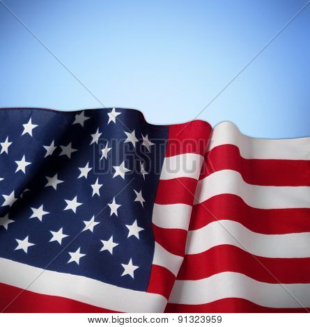 American flag on blue background