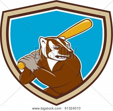 Badger Baseball Player Batting Shield Cartoon