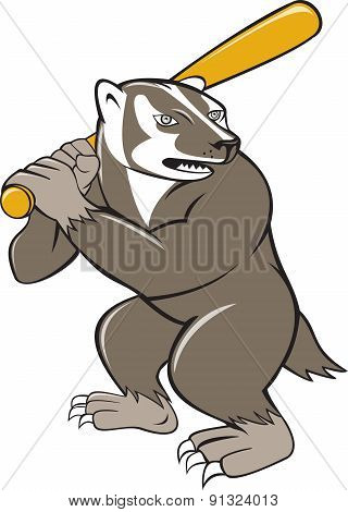 Badger Baseball Player Batting Isolated Cartoon