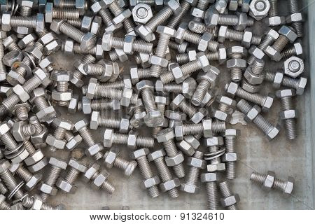 Nuts and bolts taken as background