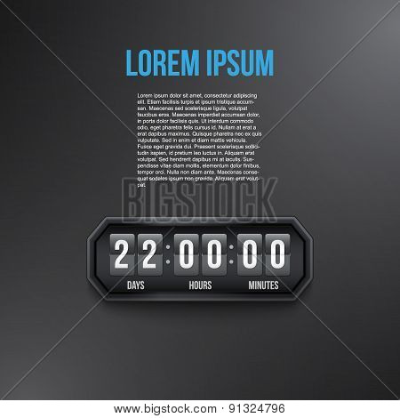 Background Coming Soon and countdown timer. Vector.