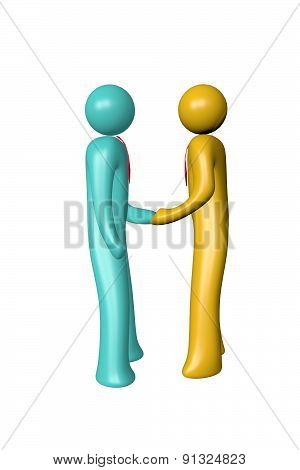 Two Businessman Shake Hand 3D