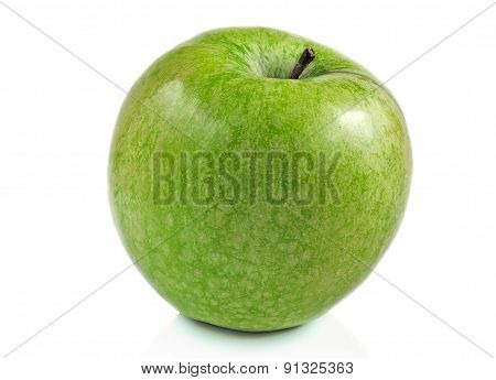 The Isolated Green Apple On A White Background.