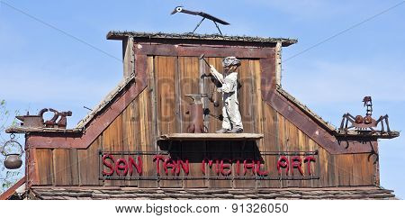 A Goldfield Ghost Town San Tan Metal Art Sign
