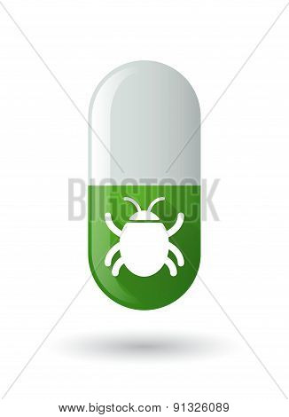 Green Pill Icon With A Bug