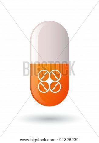 Orange Pill Icon With A Drone
