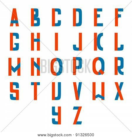 Full Latin Alphabet, Two Colored, Clean And Simple.