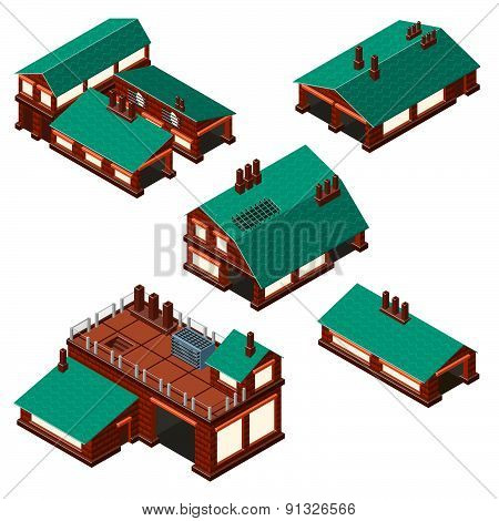 Isometric Set Of Factories, Production Facility Layout Plan.