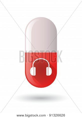 Red Pill Icon With A Earphones