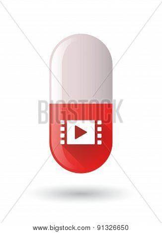 Red Pill Icon With A Multimedia Sign