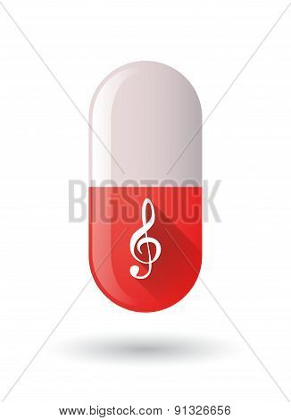 Red Pill Icon With A G Clef