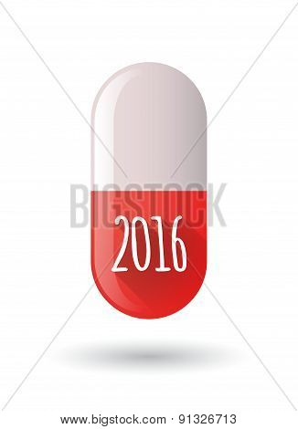 Red Pill Icon With A 2016 Sign