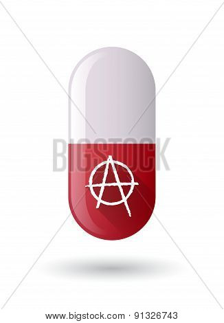 Red Pill Icon With An Anarchy Sign