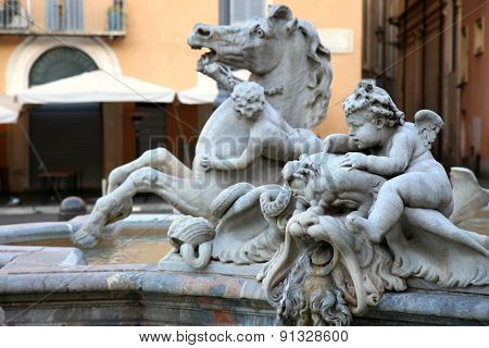 Piazza Navona, Neptune Fountain In Rome, Italy