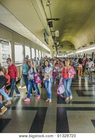 People At Subway Station In Medellin Colombia