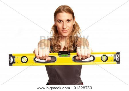 Young Woman With A Spirit Level
