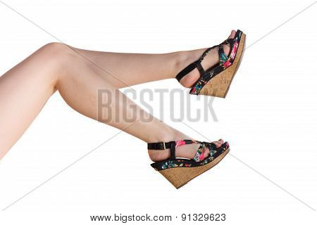 Perfect Female Legs Wearing High Heels Isolated On White Backgro
