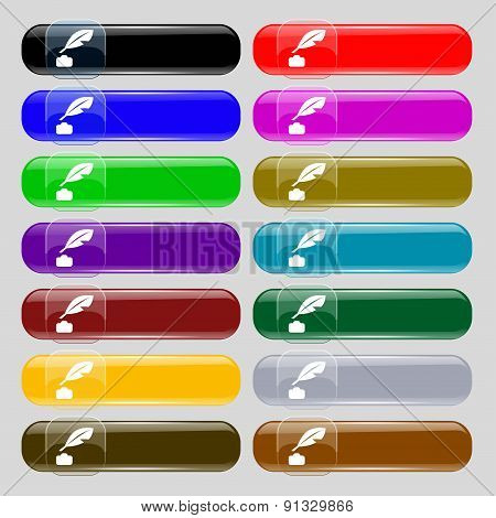 Feather, Retro Pen  Icon Sign. Set From Fourteen Multi-colored Glass Buttons With Place For Text. Ve