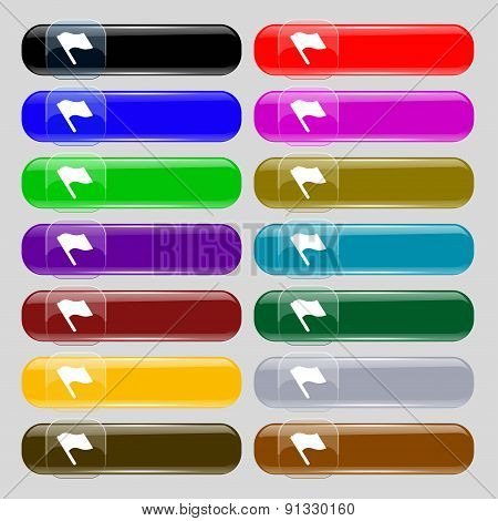 Finish, Start Flag  Icon Sign. Set From Fourteen Multi-colored Glass Buttons With Place For Text. Ve