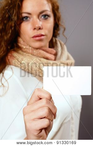 Woman With White Advertising Sign