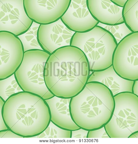 Fresh sliced cucumbers seamless pattern