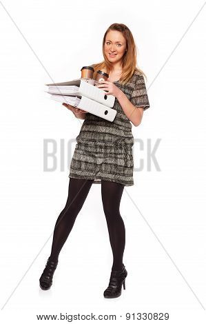 Young Woman With A Briefcase And Coffee Mug