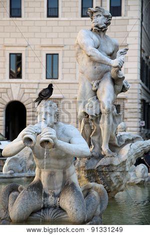 Sculpture Marble Triton, Fontana Del Moro In Piazza Navona