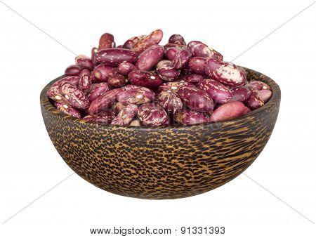 Kidney Beans In Wooden Bowl