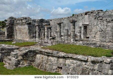 Columns On Ancient Building In Tulum, Mexico