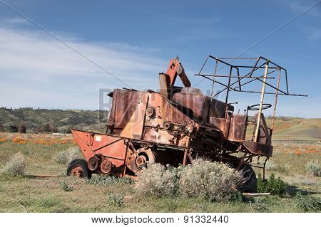 Wreck at Antelope Valley Poppy Reserve, California, Usa