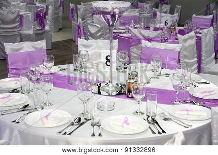 Empty Restaurant With Glasses Set